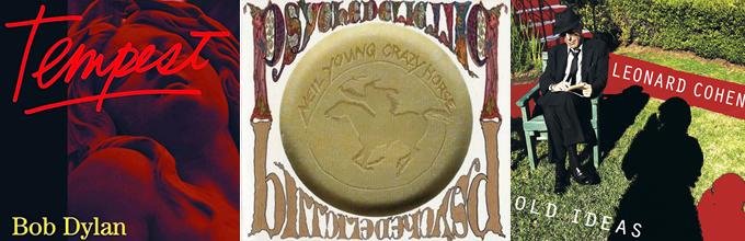 Portadas de los últimos discos de Bob Dylan, Neil Young y Leonard Cohen