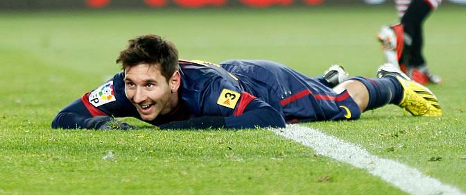 Messi, sobre el césped del Camp Nou