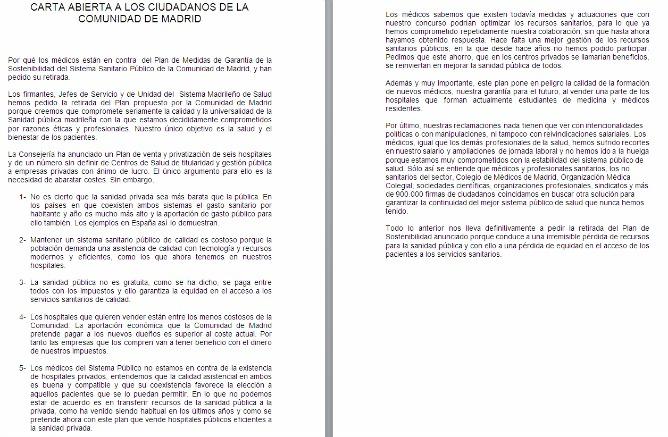 Esta es la carta que los 576 Jefes de Servicio Hospitalarios han escrito a la ciudadanía alertándoles del riesgo de privatizar la sanidad