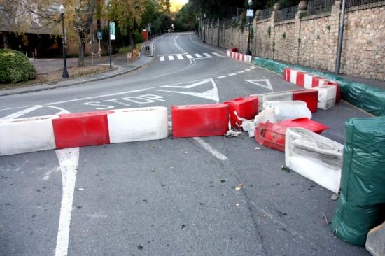 El punt on s'ha produit l'accident a Montjuïc