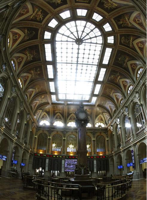 El principal indicador de la Bolsa española, el IBEX 35, en la Banca de Madrid