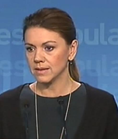 La secretaria general del PP, María Dolores de Cospedal, habla del supuesto chantaje de Santiago Cervera