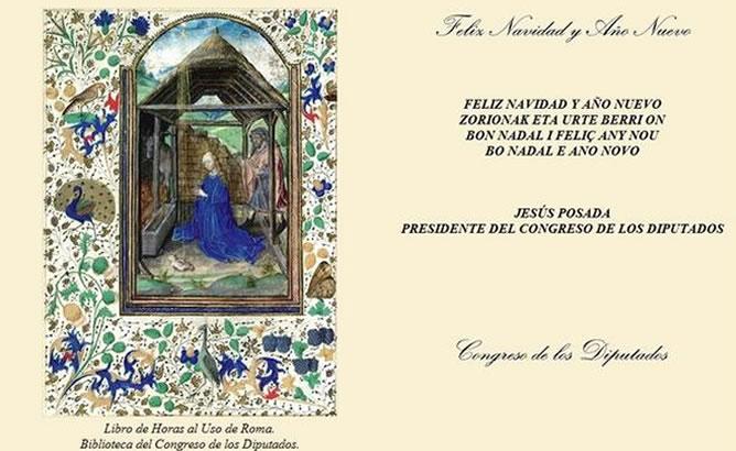 Imagen de un Nacimiento utilizada por Jesús Posada para felicitar la Navidad desde la cuenta de Twitter oficial del Congreso