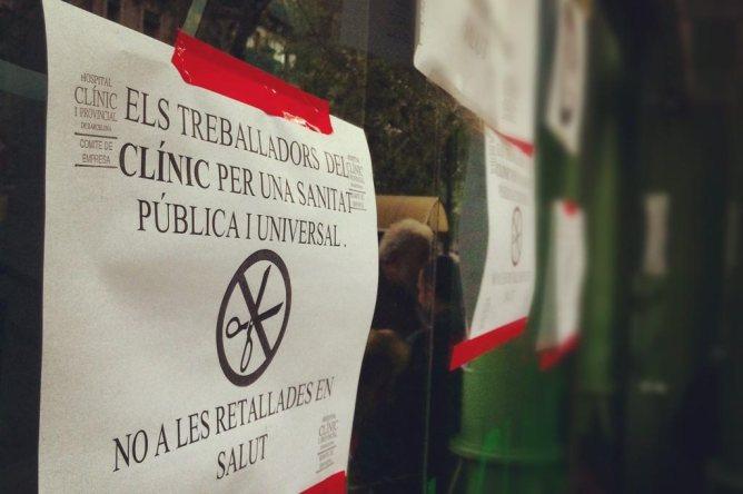Una imatge de la protesta a l'Hospital Clínic de Barcelona