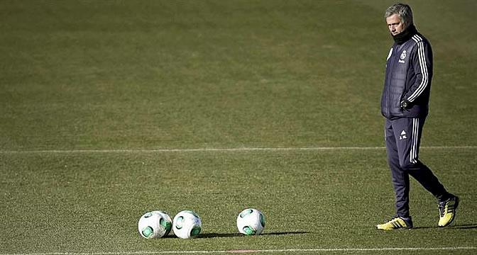 Mourinho, durante un entrenamiento