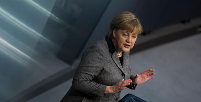 La canciller alemana, Angela Merkel, en el Bundestag berlinés