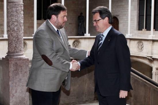 Artur Mas i Oriol Junqueras, a la reunió que van mantenir la primavera passada