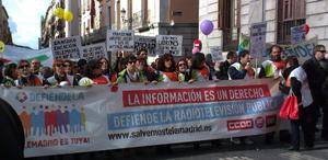 Trabajadores de Telemadrid se manifiestan para que retiren el ERE