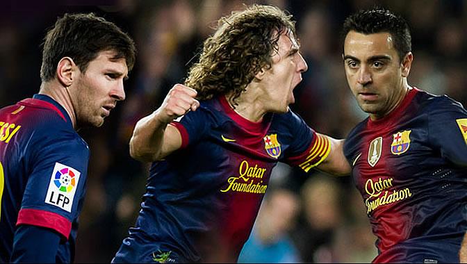 Imagen publicada por la web del Barcelona con Messi, Puyol y Xavi en la que anuncian la renovación de los tres