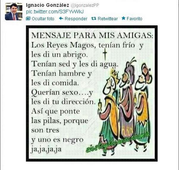 El tuit publicado en la cuenta de Ignacio González