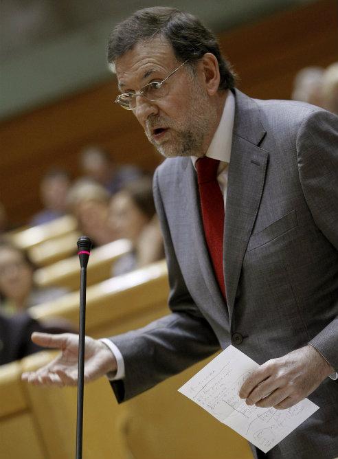 El presidente del Ejecutivo, Mariano Rajoy, durante su intervención en la última sesión de control en el Senado