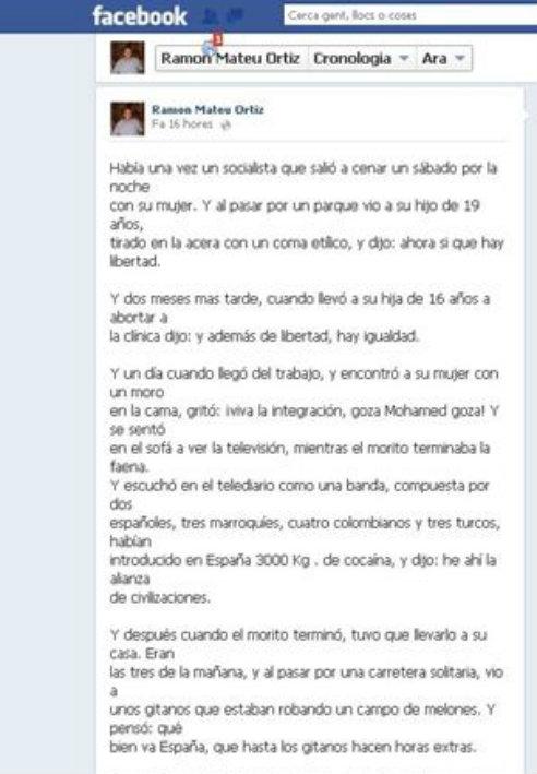 Imagen de parte del texto que el exconcejal publicó en su cuenta de Facebook