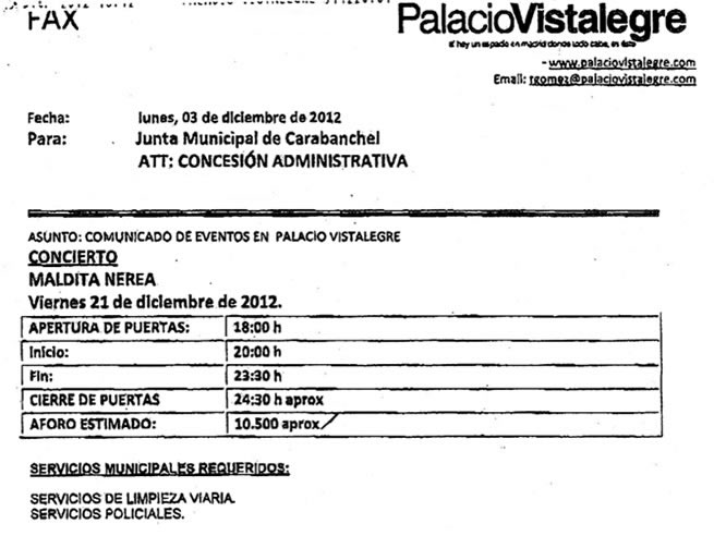 Petición de la empresa PALUMI realizada a través de la gerente de Distrito de Carabanchel en la que se recoge el aforo aproximado de 10.500 personas para el concierto.