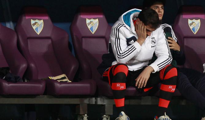 El portero de la Selección y del Madrid, durante el partido frente al Málaga en el que fue suplente