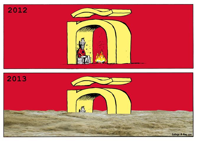 """Los humoristas gráficos José Maríz Perez """"Peridis"""", Julio Rey, Mauro Entrialgo y Aleix Saló ilustran el 2013 en exclusiva para la SER"""