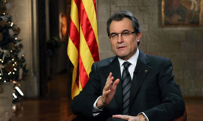 El presidente de la Generalitat durante su discurso de fin de año.
