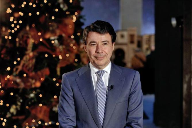 Ignacio González, presidente de la Comunidad de Madrid, durante su discurso navideño