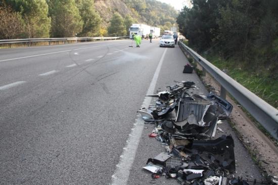 Un accident a la Nacional II al seu pas per Girona
