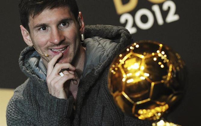 El astro argentino, en la comparecencia previa a la entrega del Balón de Oro 2012.