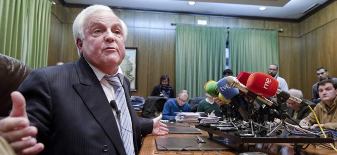 Foto del presidente de la Diputación de Ourense, José Luis Baltar Pumar, en la rueda de prensa en la que comunicó su dimisión tras más de veinte años de gestión