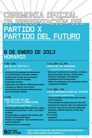 """Cartel de la """"Ceremonia Oficial de Presentación"""" del Partido X"""