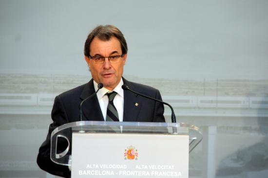 Artur Mas en el seu discurs en l'acte d'inauguració de l'AVE Barcelona-Girona-Figueres
