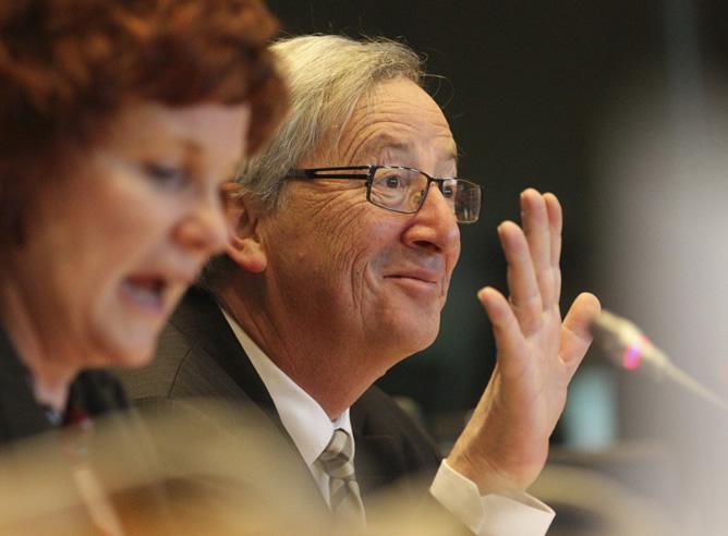 El presidente del Eurogrupo, Jean-Claude Juncker, en rueda de prensa