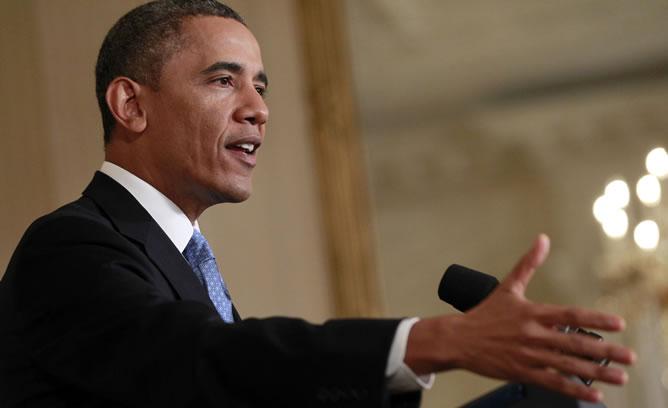 El presidente Obama durante la rueda de prensa de este lunes.