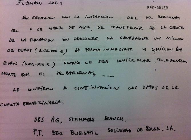 Carta que refleja una orden de Luis Bárcenas para transferir un millón de euros de la Fundación Sinequanon
