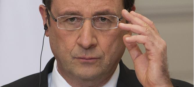 El presidente galo, François Hollande, durante la rueda de prensa en el Palacio del Elíseo