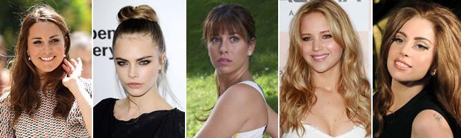 De izquierda a derecha: Kate Middleton, Cara Delevingne, Blanca Suárez, Jennifer Lawrence y Lady Gaga