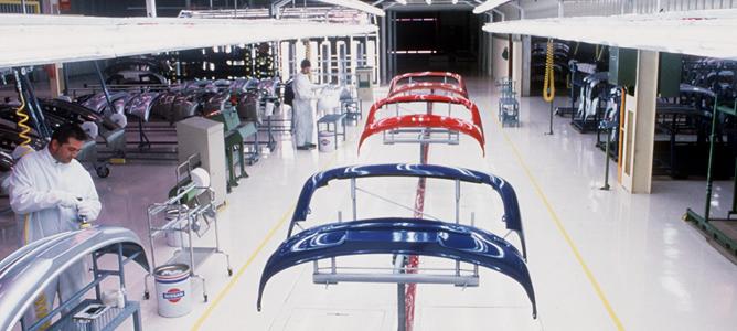 Planta de pintado de la fábrica de Nissan en Barcelona