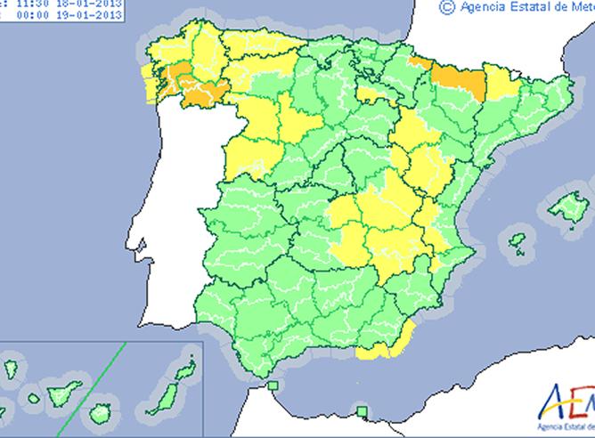 Previsión del tiempo para el viernes 18 de enero con más de veinte provincias en alerta
