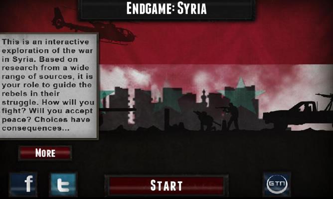 """""""Esta es una exploración interactiva de la guerra en siria, tú tienes la labor de orientar a los rebeldes en su lucha ¿Vas a luchar hoy? ¿Vas a aceptar la paz? Tus decisiones tienen consecuencias"""" reza un cartel al iniciarse el juego."""