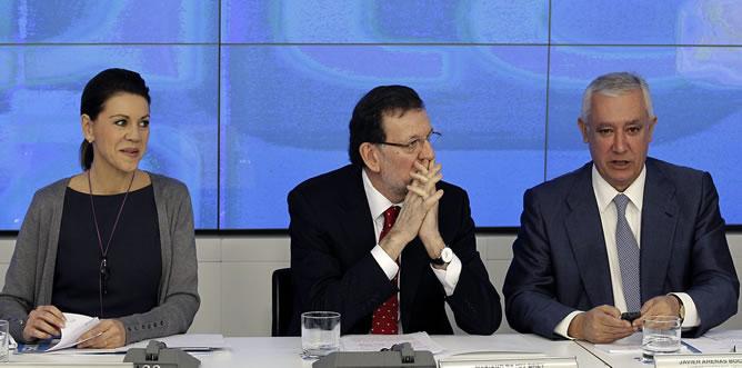 El presidente del PP, Mariano Rajoy, preside este lunes el comité ejecutivo nacional del PP
