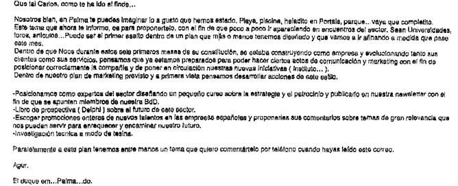 Correo electrónico que Iñaki Urdangarin envió a Carlos García Revenga, consejero del rey