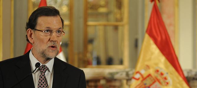 El presidente del Ejecutivo español, Mariano Rajoy, durante su comparecencia en Lima (Perú)