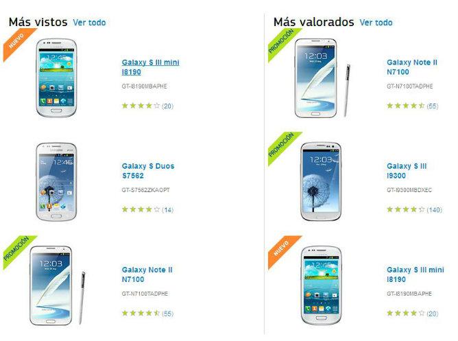 Captura de pantalla de la página web de Samsung en la que se puede ver algunos de los móviles que han triunfado este año