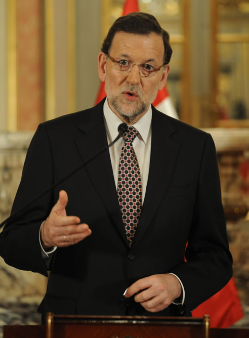El presidente del Ejecutivo español, Mariano Rajoy, ofreciendo declaraciones durante su visita a Perú