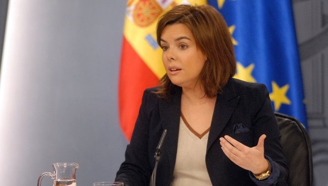 La vicepresidenta del Govern, Soraya Sáenz de Santamaría, a la roda de premsa del Consell de Ministres