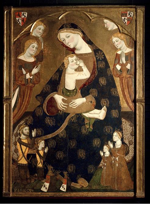 Virgen de Tobed. Jaume Serra. Tempera sobre tabla, 161,4 x 117,8 x 14 cm 1359, Madrid, Museo Nacional del Prado. Donación de Várez Fisa