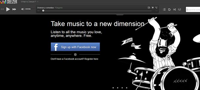 Imagen de la página principal de Deezer