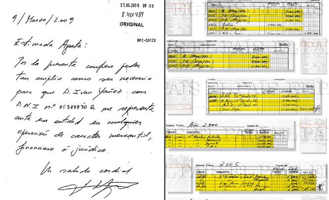 Comparación de la caligrafía de Bárcenas de un documento que utiliza para traspasar los poderes de su cuenta en Suiza y los papeles secretos que ha publicado 'El País'