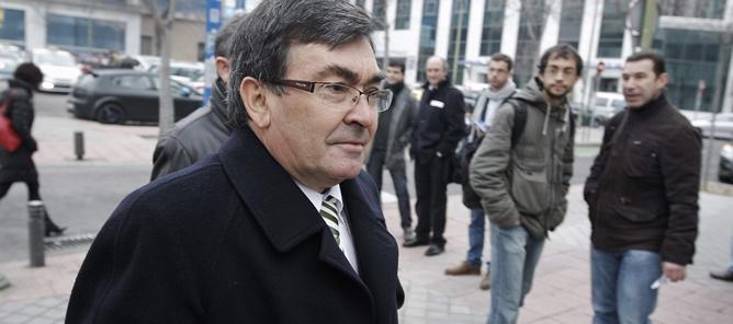 El exdirector deportivo del equipo Kelme, Vicente Belda, a su llegada hoy al Juzgado de lo Penal nº 21 de Madrid, donde se reanuda el juicio de la Operación Puerto