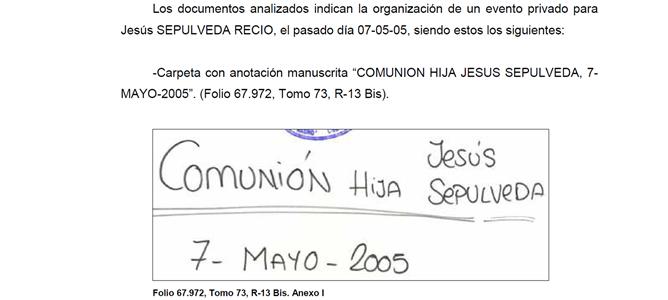 Según la documentación incautada por la Policía, la trama Gürtel pagó la comunión de una hija de Ana Mato