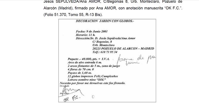 Documento remitido por la Policía al juez del 'caso Gürtel' en el que se apunta que la trama pagó una fiesta infantil a la familia de Ana Mato
