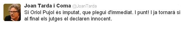El comentari del diputat d'ERC Joan Tardà a la xarxa social Twitter