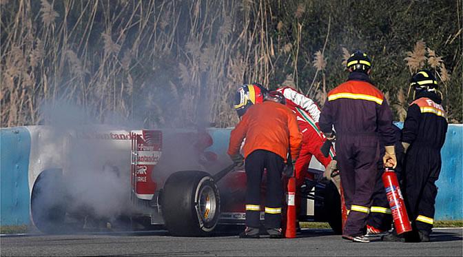 El F138, averiado en la última sesión de entrenamientos en Jerez