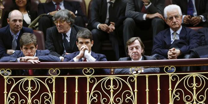Los diestros Julián López 'El Juli', José María Manzanares, Curro Vázquez, y Santiago Martín 'El Viti', en el Congreso