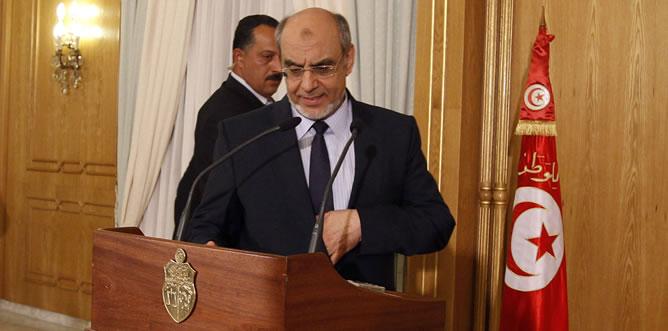 El primer ministro tunecino Hamadi Jebali en la rueda de prensa de este martes.